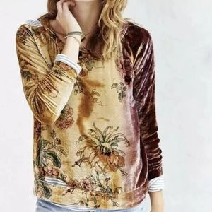 Chaser velvet cutout top floral silk blend
